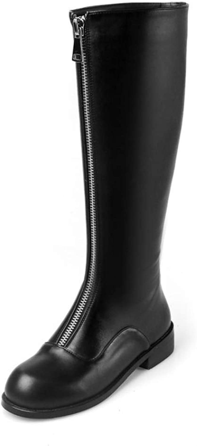 Wallhewb Women Knee-high Boots Cow Leather Autumn Spring Black color Zippers Low Heel Female High Boots Girl Leg Length Reasing Leg Length Rubber Sole Fashion Girl Elegant Black 6 M US shoes