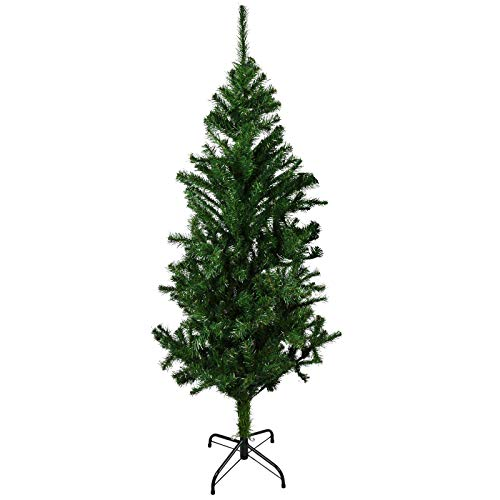 ASAB Pop Up Christmas Trees Premium Pre-lit Artificial Hinged s Xmas Tree with Metal Stand PVC Material Indoor and Outdoor 4ft 5ft 6ft 7ft Green White (Green 5FT)