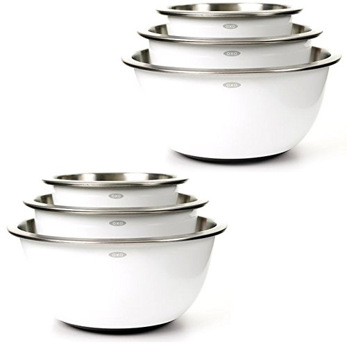 OXO Good Grips 3-Piece Stainless-Steel Mixing Bowl Set, White (2 Pack)