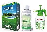 Maciste, Sementi per tappeto erboso ideale per zone aride 1Kg + Concime Biostimolante Vigor Liquid per Prato da 1 kg Bottos con Pompa Spruzzatore a Pressione 2L