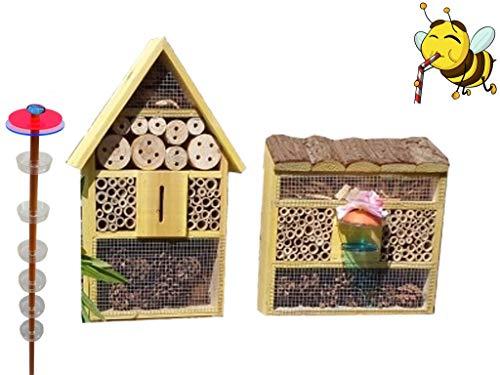 BTV XXL Bienenhaus Bienenhotel + Gartendeko-Stecker Nistkasten 2X Bienenhotel, Insektenhotel MIT BIENENTRÄNKE,XXL Bienenstock & Bienenfutterstation für Wildbienen, Hummeln Schmetterlinge