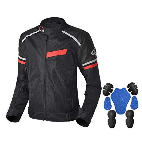 DNJKH Traje de Carreras para Motocicleta, Chaqueta de Carreras Transpirable de Malla, Impermeable, Verano