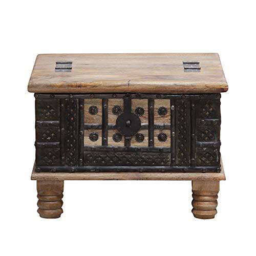 Casa Moro Orientalischer Truhentisch Hadis 60x60x40 (BxTxH) aus Echtholz Mango mit Metallapplikationen verziert | Orient Holz-Truhe Vintage Couchtisch mit klappbarer Tischplatte | CAC3201070 - 3