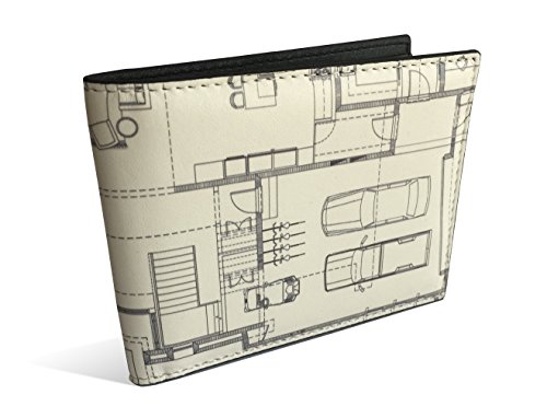 ArcPress RFID Blocking Modern Bifold Wallet with Wood, Concrete, and Architectural Design Finish (Floor Plan)