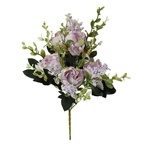 Boburyl 5-tête Artificielle Pivoine Fleur Bouquet Simulation Décoration Florale Intérieur Tissu Faux Pivoine Bouquet, Violet