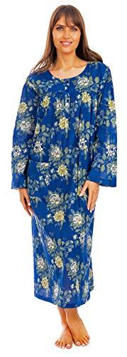 i-Smalls Ladies Easy Fit Langes Nachthemd 100% Baumwolle mit Spitzendetail (XL) Blue Dark