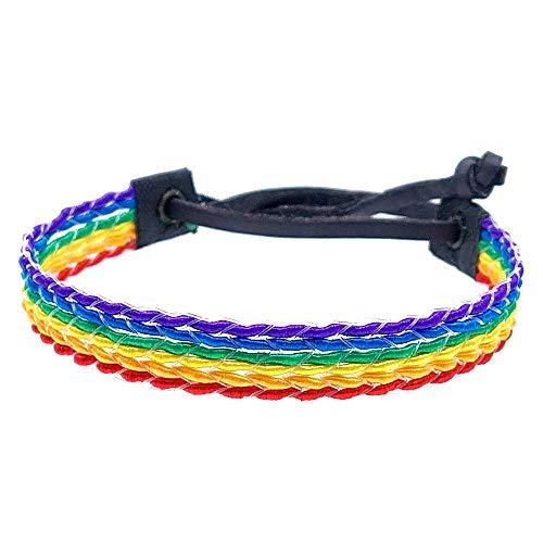 BDM Pulsera de Hombre y Mujer de Tela de la Bandera LGTBI o arcoíris. Ajustable con Cierre de Cuero para revindicar tu Orgullo. Pride Gay, Lesbiana, Bisexual y Trans.