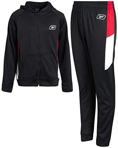 Reebok Trainingsanzug für Jungen, 2-teilig, mit Jacke und Jogginghose, Schwarz / Rot, Größe 4