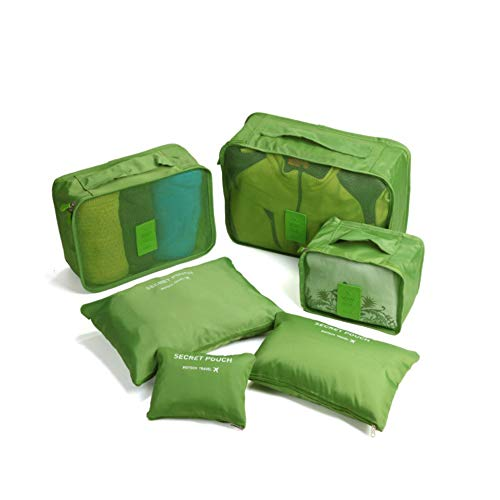 Beloved Set di 6 Organizer da viaggio per valigia - beauty case - salvaspazio - lavanderia - bagaglio a mano e trolley (Verde)
