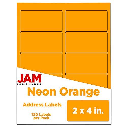 JAM PAPER Shipping Address Labels - Standard Mailing - 2 x 4 - Neon Fluorescent Orange - 120/Pack