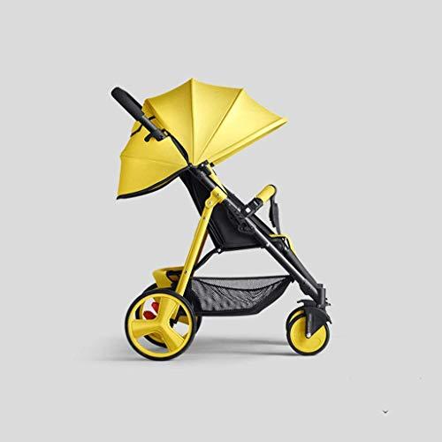 Carrito de bebé La luz Alta del Paisaje Puede Sentarse y acostarse Doble suspensión Suspensión Cuatro carritos Carrito de bebé (Color: Amarillo)