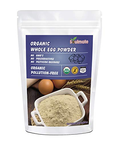 Soulmate Organic Dried Whole Egg Powder, Produced from the Freshest of Eggs, Non-GMO No Additives, 8.82oz(150g)