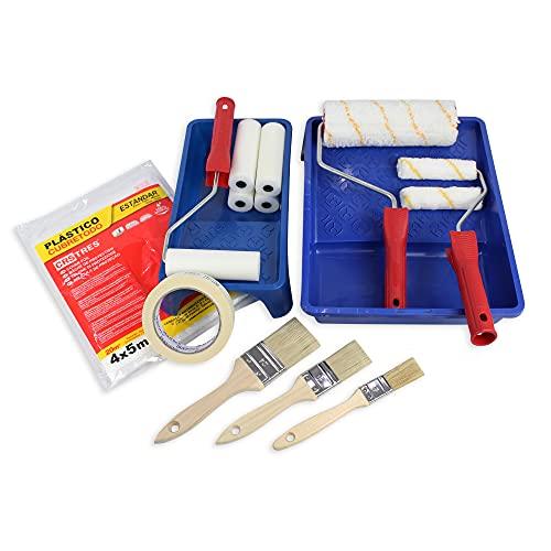 MAXI SET - Kit rouleaux de peinture anti-goutte + mini rouleaux de mousse + kit de pinceaux plats + couvre tout 20 m2 + grand et petit bac + ruban de peinture