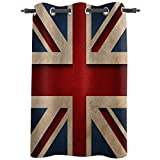 Union Jack Really Blackout Curtains with Grommet Window Treatments Drapries 52''W x 96''L, Traditional Flag United Kingdom Modern British Loyalty, Sunlight Darkening Panels for Bedroom/Living Room