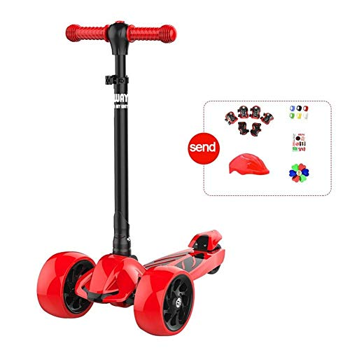 SZNWJ Ygqtbc Mini Deluxe de 3 Ruedas, de Lean-a-Steer, Swiss-Diseñado Micro Scooter for Niños, Edad de 2-10 (Color : Red)