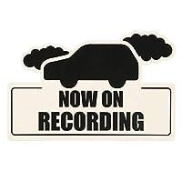 ドライブレコーダー シール ステッカー ドラレコ 搭載 車 防水 耐水 耐候 ラミネート カメラ あおり運転 対策 安全運転 車型 9.5㎝×14㎝ 「NOW ON RECORDING」型抜き REC 防犯 事故防止 警告 (ホワイト, 9.5㎝×20㎝)