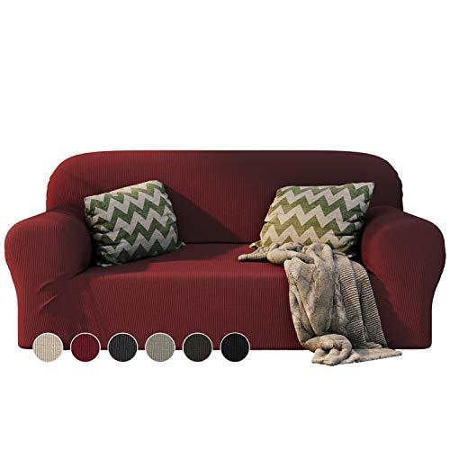 Dreamzie - Sofabezug 2 Sitzer Elastische - Bordeaux - Oeko-TEX® - Sofa Überzug Dehnbarer aus Recycelter Baumwolle - Made in Europe