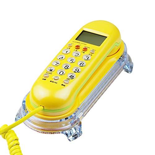 NYDZDM Mini Teléfono de línea Fija con Cable-Montado en la Pared Identificador de Llamadas pequeñas Teléfono de extensión - Teléfono Amarillo
