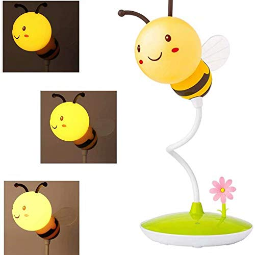 AVEKI Cute Bumblebee LED Desk Lamp Touch Control Dimming 3 Brightness and 360°Flexible Gooseneck Eye-Care USB Rechargeable Lamp for Teens