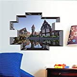 Juego popular Minecraft Wall Art Stickers para la habitación de los niños Decoración del hogar Diy 3D Window Broken Hole Wall Mural Decals Pvc Poster 50X70 cm