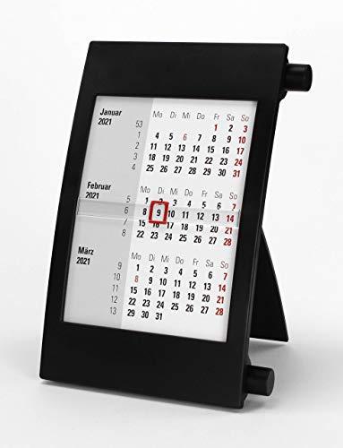 HiCuCo 3-Monats-Tischkalender für 2 Jahre (2021 und 2022) - Aufstellkalender - mit Drehmechanik - schwarz - TypD2