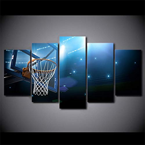 ERSHA Hd Gedruckt 5 Stück Leinwand Kunst Basketballkorb Ziel Malerei Wandbilder Für Wohnzimmer Modern(Gerahmt)