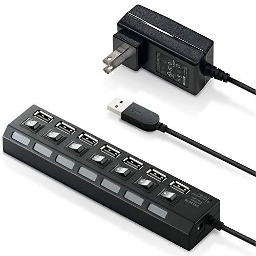 エレコム USB2.0 ハブ 7ポート ACアダプタ付 セルフ/バス両対応 個別スイッチ付 2.0m ブラック U2H-TZS720SBK