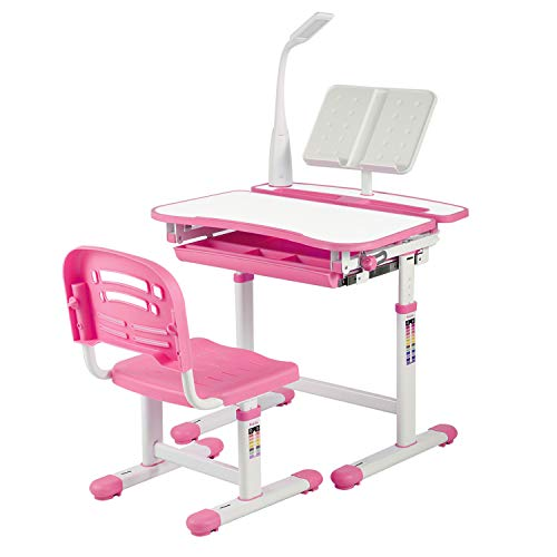 UNIHOM Kids Desk and Chair Set,Height Adjustable Children Study Table with Wood Tabletop,Bookstand,Pull-Out Drawer Storage and Touch Led for School Students,Pink