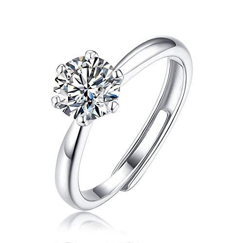 JIARU Anillo de plata de ley 925 para mujer, anillo de compromiso simple, anillo de compromiso y seis garras de 1 quilate, anillo de boda moissanita para niña anillo de regalo de dedo abierto