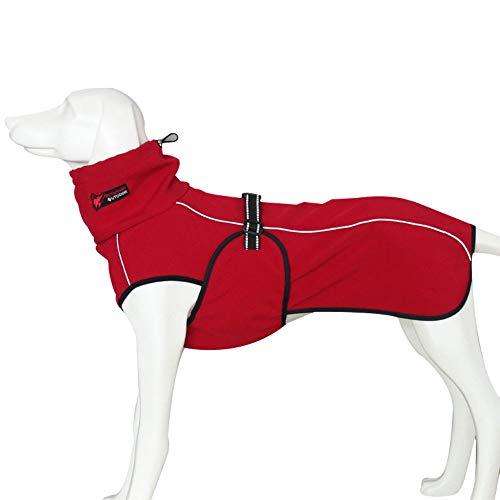 Liboom Warme Fleece Winddicht Wasserdicht Hundejacke Reflektierend Hundemantel Waschbar Welpen Haustierkleidung Herbst Winter für Mittlere Großen Hunde L Rot
