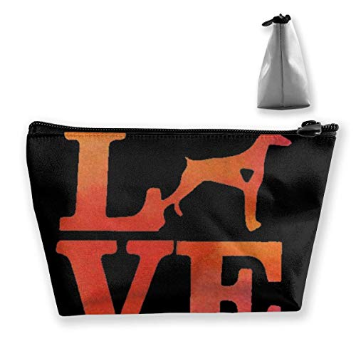 Love Doberman Aquarelle Trapezoid Travel Cosmetic Storage Pouch Pochette