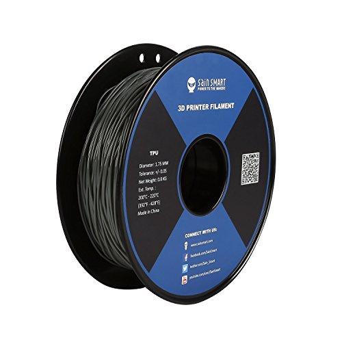 SainSmart Gray Flexible TPU 3D Printing Filament, 1.75 mm, 0.8 kg, Dimensional Accuracy +/- 0.05 mm
