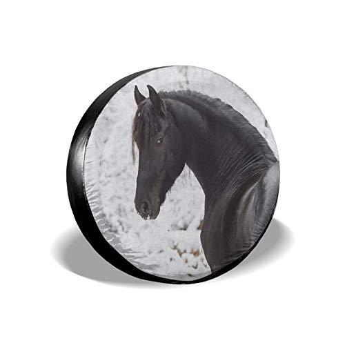 Xhayo Cubierta universal para neumáticos de repuesto para caballo deportivo, impermeable, a prueba de polvo, para remolques, RV, SUV y muchos vehículos (negro, diámetro 14-17 pulgadas)