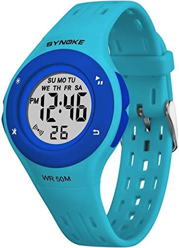 Reloj deportivo para niños, 7 colores, luz de fondo intercambiable, 50 m, multi luminoso, resistente al agua, regalo para juguetes de cumpleaños para niñas (negro)-azul