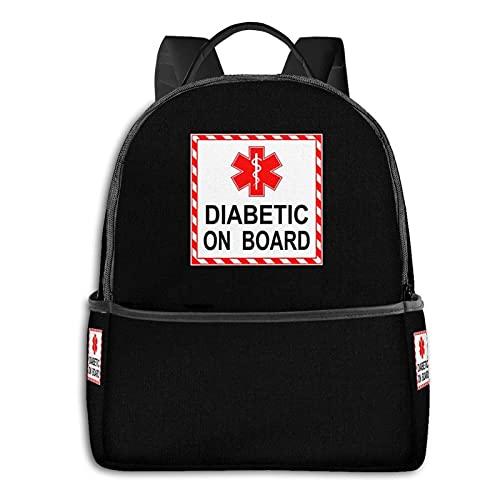 Diabetic On Board - Mochila para niños y adolescentes, mochila para aligerar la escuela, multiusos, bolsa de deporte, bolsa de hombro a granel para nadar, viajar