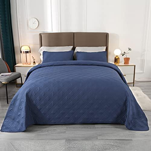 VINILITE Tagesdecke Bettüberwurf 170x210cm 3 Teilige Bettwäsche Set Gesteppte Steppdecke Schwarzblau Geprägte Leichte Bettbezug mit 2 Kissenbezug Geeignet für Doppelbett Sofadecke