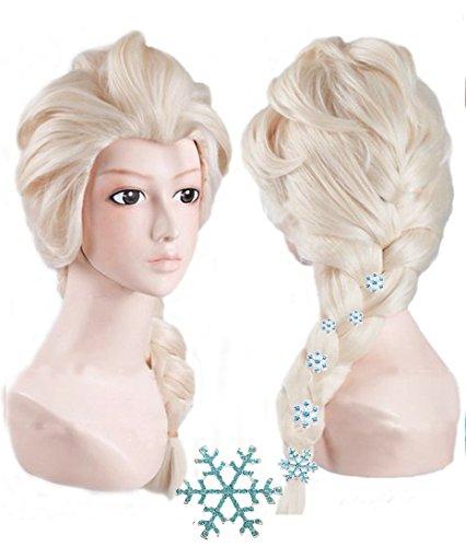 Anogol Free Hair Cap + Blonde Beige Cosplay Wig Halloween Wig Party Wigs Braid Hair Movie Costume Wig with 6 Hairpins for Kids by Anangel