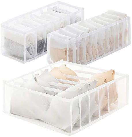 3-piece set underwear drawer storage box set, foldable socks, bra underwear storage box, drawer divider, washable storage storage bag for storing clothes, ties and bras (White)