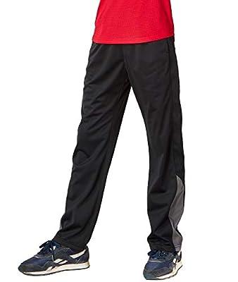 DEVOPS Boys Active Performance Workout Athletic Training Pants (Large, Black (Gray))