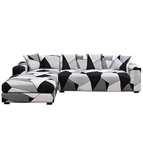 SHANNA Fundas de sofá elásticas, antideslizantes, juego de 2 unidades de 3 plazas + 3 plazas funda de sofá para sofá en forma de L, con 4 fundas de almohada – negro, blanco y gris