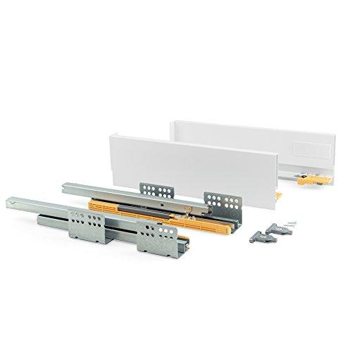 Emuca - Kit de cajón para Cocina o baño con guias de extracción Total y Cierre Suave, Altura 105mm y Profundidad 400mm, Blanco