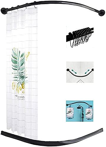 YUnZhonghe Varilla de cinta de ducha de tensión curvada Negro, barra de...