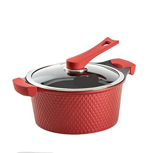 Cocina, ollas sartenes, Maifan Stone Soup Pot vapor de doble uso estufa de gas estufa de gas estufa de cocina antiadherente olla para el hogar,Red Diamond,24 cm