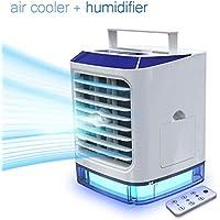 Aire Acondicionado Portátil, 4 en 1 Mini Ventilador Humidificador Purificador, USB Air Cooler con 3 Velocidades y 7 Colores LED Luz para Hogar Oficina Acampada