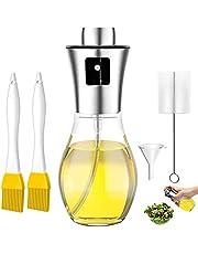 LiRiQi Spryskiwacz oleju, butelka 200 ml, wielofunkcyjny spryskiwacz do oliwy z oliwek, 5 w 1, dozownik octu, spryskiwacz oleju, dozownik oleju ze szczotką i lejkiem, butelka z rozpylaczem do gotowania, BBQ, sałatek