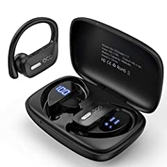 【Individual LED Power Display for Earbuds&Charging Case】-Occiam sports bluetooth headphones charging case with led power Display shows remaining power in percentage and you will clearly know at any time if you have enough power reserves. Charging cas...