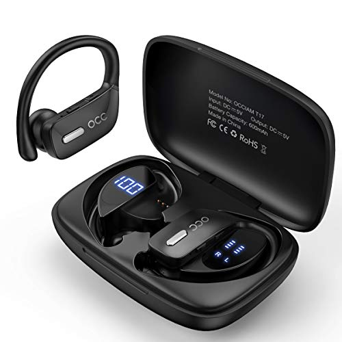Occiam Bluetooth Headphones-True Wireless Earbuds 48Hrs Playtime Earphones TWS Deep Bass Loud Voice Call Over Ear Waterproof with Microphone Smart LED Display for Sports Running Gaming Workout-Black