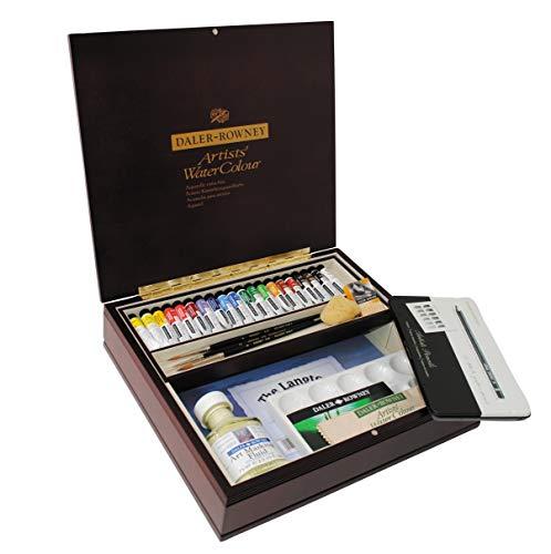 Daler Rowney Lot de 20 tubes de peinture aquarelle de luxe en bois Assortiment de couleurs 20 x 5 ml