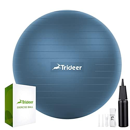 Trideer バランスボール 45/55/65/75cm 耐荷重300KG アンチバースト 滑り止め フットポンプ付き ヨガボール ピラティスボール (L(58〜65 cm、高さ165-185cm に適応), ミットブルー)