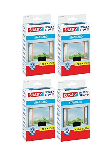 tesa® Fliegengitter Standard Klettband für Fenster, anthrazit, 1,5m:1,8m (4er Pack)